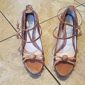 L.A.M.B. leather sandal